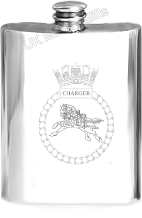 HMS Charger Pewter Hip Flask