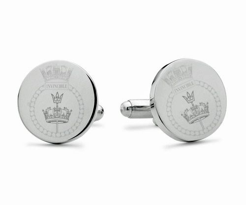HMS Invincible Engraved Cufflinks