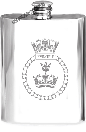 HMS Invincible Pewter Hip Flask