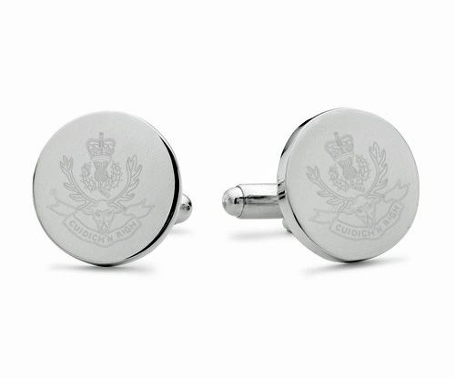 Queen's Own Highlanders Engraved Cufflinks
